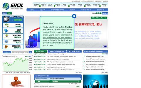 Screenshot of Home Page shcilservices.com - SHCIL Services Ltd - captured Sept. 17, 2015