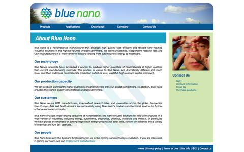 Screenshot of About Page bluenanoinc.com - Blue Nano   About Us - captured Oct. 5, 2014