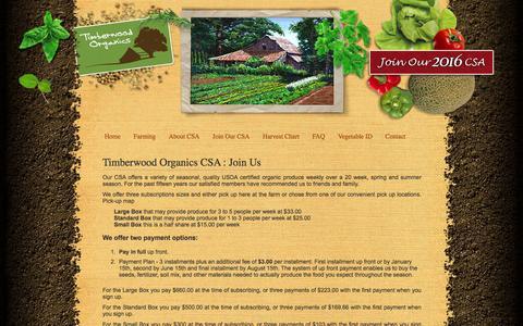 Screenshot of Signup Page timberwoodorganics.com - Timberwood Organics - Organic Farm CSA in Efland North Carolina - NC - captured June 20, 2016
