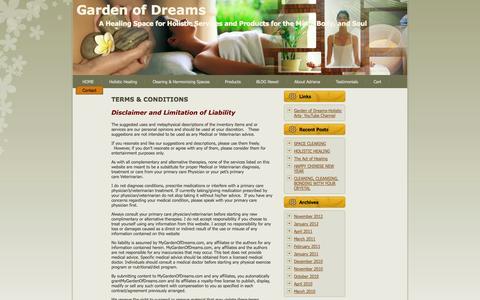 Screenshot of Terms Page mygardenofdreams.com - Garden of Dreams;   TERMS & CONDITIONS - captured Oct. 2, 2014