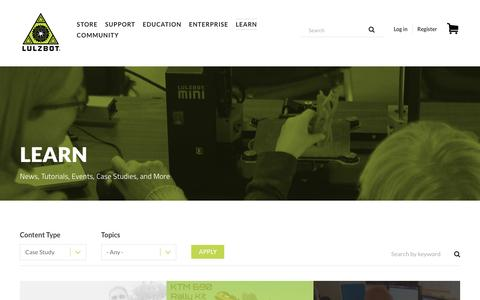 Screenshot of Case Studies Page lulzbot.com - Learn | LulzBot - captured May 23, 2017