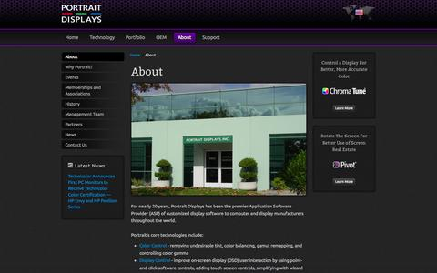 Screenshot of About Page portrait.com - Portrait Displays | About | Customized Software for Display OEMs Worldwide – Display Technologies - captured Sept. 23, 2014