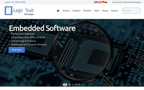 Screenshot of Home Page logic-fruit.com - A Product Engineering & Design Services Provider Company -Logic Fruit Technologies - captured Sept. 29, 2018