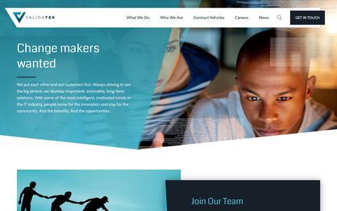 Screenshot of Jobs Page validatek.com - Change makers wanted | ValidaTek - captured Oct. 11, 2018