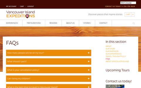 Screenshot of FAQ Page vancouverislandexpeditions.com - FAQs - Vancouver Island Expeditions - captured Oct. 27, 2014
