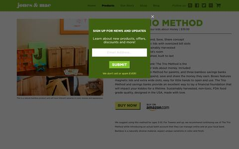 Screenshot of Products Page jonesandmae.com - Products   Jones & Mae   Bamboo spend save share piggy bank set - captured July 8, 2018
