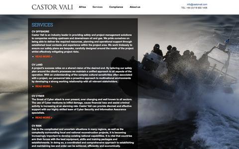 Screenshot of Services Page castorvali.com - Services | Castor Vali - Global Risk Management - captured Dec. 7, 2015