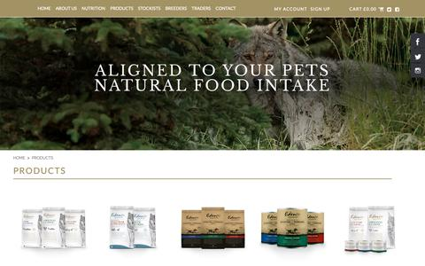 Screenshot of Products Page edenpetfoods.com - Products - captured Sept. 27, 2018