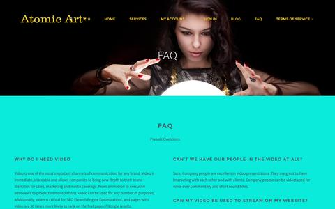 Screenshot of FAQ Page atomicart.com.au - FAQ | - captured Feb. 21, 2016