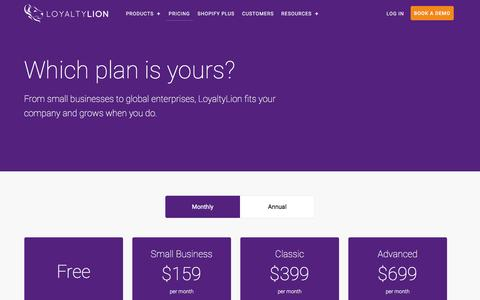 Screenshot of Pricing Page loyaltylion.com - Pricing   LoyaltyLion - captured May 9, 2017