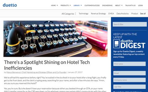 Screenshot of Case Studies Page duettocloud.com - There's a Spotlight Shining on Hotel Tech Inefficiencies - captured Jan. 6, 2020
