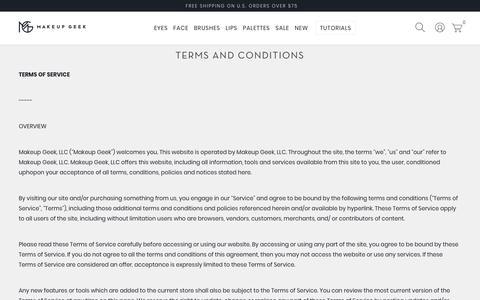 Screenshot of Terms Page makeupgeek.com - Terms and Conditions - Makeup Geek - captured April 4, 2018