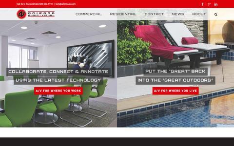 Screenshot of Home Page arizonaav.com - Home - Arizona Audio Visual - captured Feb. 6, 2016