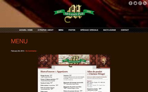 Screenshot of Menu Page mcleanspub.com - MENU | McLean's Pub - captured Oct. 27, 2014