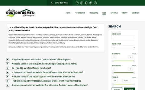 Screenshot of FAQ Page nccustommodulars.com - Carolina Custom Homes - FAQ - captured July 15, 2017