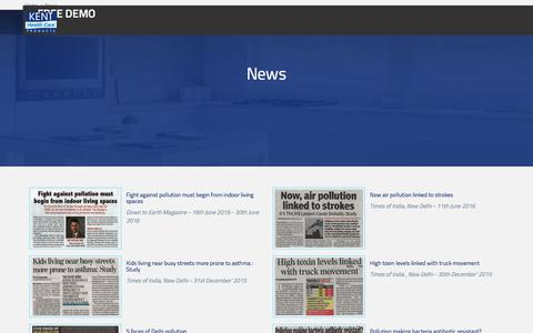 Screenshot of Press Page kent.co.in - Water & Air Pollution Related News - Page 1 – KENT - captured June 27, 2017