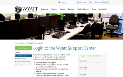 Screenshot of Login Page wyatt.com - Support Center Login - Wyatt  Technology - captured Oct. 18, 2018