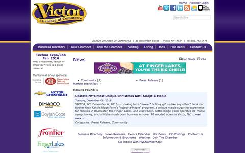 Screenshot of Press Page victorchamber.com - News - Victor Chamber of Commerce,NY - captured Dec. 21, 2016