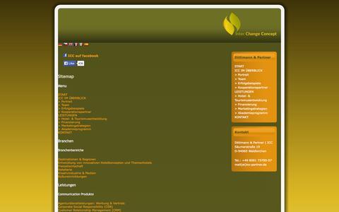 Screenshot of Site Map Page interchangeconcept.de - Beratung / Agentur für Tourismus, Hotel, Erlebnisorte | Dittlmann und Partner ICC - Sitemap - captured Oct. 3, 2014