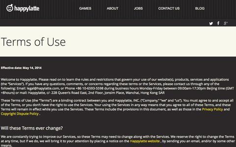 Screenshot of Terms Page happylatte.com - Happylatte - captured Sept. 19, 2014