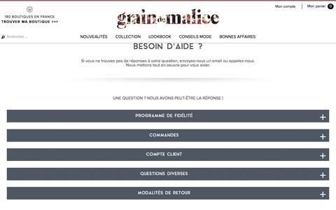 Screenshot of Contact Page FAQ Page graindemalice.fr - Grain de Malice - FAQ et contact - captured Sept. 9, 2016