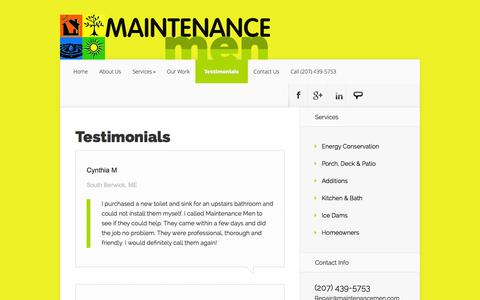 Screenshot of Testimonials Page maintenancemen.com - Testimonials - Maintenance Men | Maintenance Men - captured Sept. 26, 2014