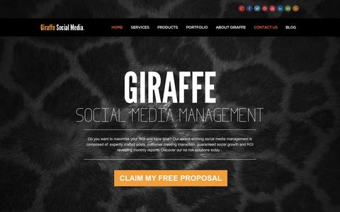 Screenshot of Home Page Contact Page giraffesocialmedia.co.uk - Giraffe Social Media - Social Media Management - captured Sept. 18, 2014