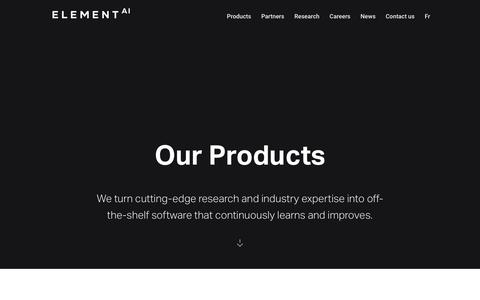 Screenshot of Products Page elementai.com - AI software products for enterprise | Element AI - captured July 12, 2019