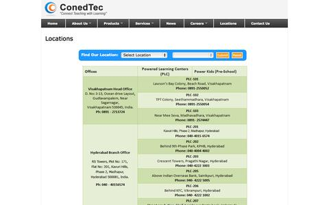 Screenshot of Locations Page conedtec.com - Consolidated Education Technologies Pvt Limited - captured Oct. 3, 2014