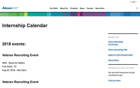 Screenshot of Jobs Page alcon.com - Alcon Internship Calendar & Career Fair | Alcon.com - captured Sept. 25, 2018