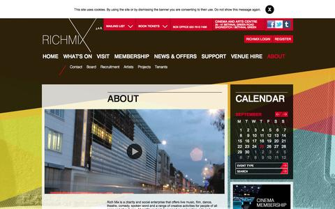 Screenshot of About Page richmix.org.uk - About :: Rich Mix - captured Sept. 25, 2014
