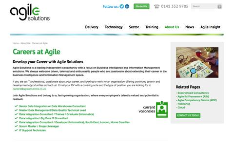 Screenshot of Jobs Page agilesolutions.co.uk - Careers in IT and Business Intelligence - captured Feb. 5, 2016