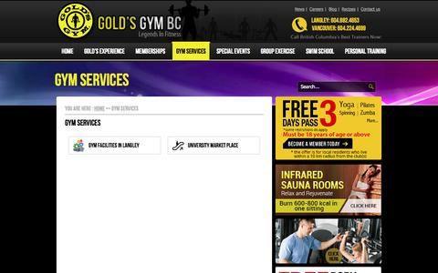 Screenshot of Services Page goldsgymbc.ca - Gym Services - Gym & Fitness Club VancouverGym & Fitness Club Vancouver - captured Oct. 10, 2014