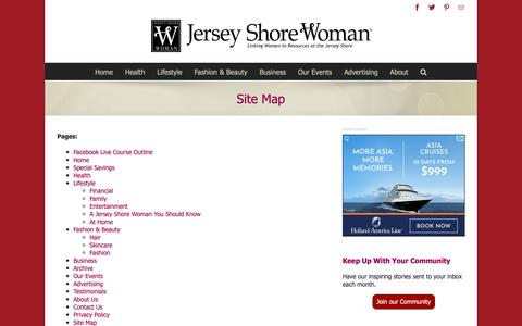 Screenshot of Site Map Page jswoman.com - Site Map - Jersey Shore Woman - captured Oct. 24, 2018