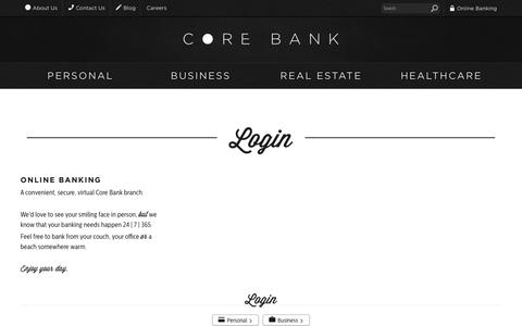 Screenshot of Login Page corebank.com - Login | Core Bank - captured Jan. 2, 2017
