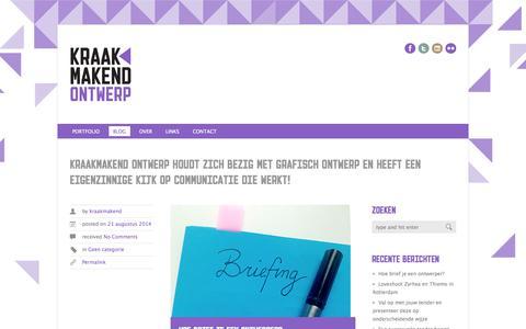 Screenshot of Blog kraakmakend.nl - Kraakmakend ontwerp, grafisch ontwerp, webdesign, fotografie - captured Oct. 27, 2014