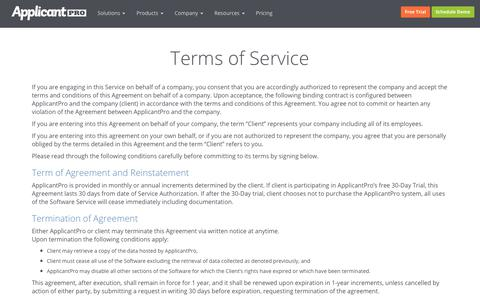 Terms of Service | ApplicantPro
