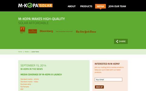 Screenshot of Press Page m-kopa.com - M-KOPA Solar - captured Sept. 16, 2014