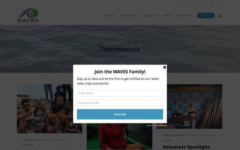 Screenshot of Testimonials Page wavesfordevelopment.org - Testimonials Archives – WAVES International - captured June 11, 2017