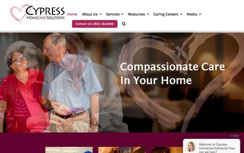 Screenshot of Home Page cypresshomecare.com - Cypress Homecare | Best Caregiving, In-home & Memory Care AZ - captured Sept. 19, 2017