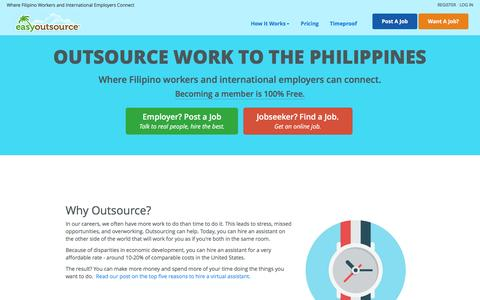 Screenshot of Home Page easyoutsource.com - Hire the best Filipino employees and virtual assistants the Philippines has to offer! - captured March 13, 2017