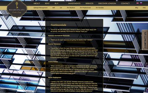 Screenshot of Testimonials Page ready-flats.co.uk - Ready Flats London | TestimonialsОтзывы - Ready Flats London - captured Oct. 7, 2014