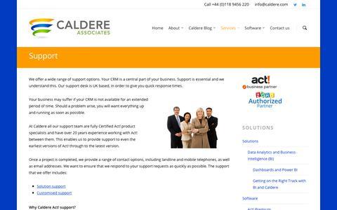 Screenshot of Support Page caldere.com - Services - Support - Caldere Associates - captured Sept. 26, 2018