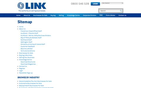 Screenshot of Site Map Page linkbusiness.co.nz - Sitemap| LINK Business, New Zealand - captured Sept. 19, 2014