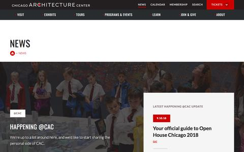 Screenshot of Press Page architecture.org - News·Chicago Architecture Center - CAC - captured Sept. 24, 2018
