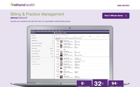 Screenshot of Landing Page athenahealth.com - athenahealth | Practice Management, Medical Billing - captured Feb. 10, 2016
