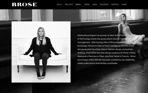 Screenshot of About Page marikabrose.com - ABOUT - MARIKA BROSE - captured Oct. 4, 2014