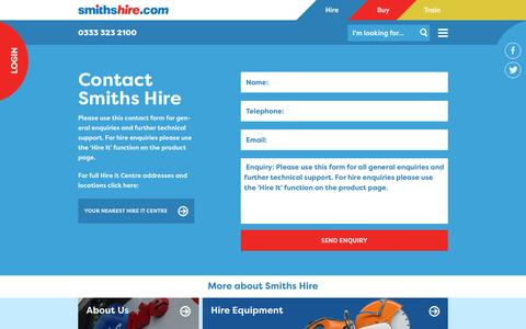 Screenshot of Contact Page smithshire.com - Contact Smiths Hire - Online or in person - captured Nov. 30, 2016