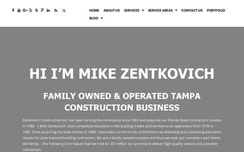 Screenshot of About Page zentkovichconstruction.com - About Us   Zentkovich Construction - captured Oct. 18, 2018
