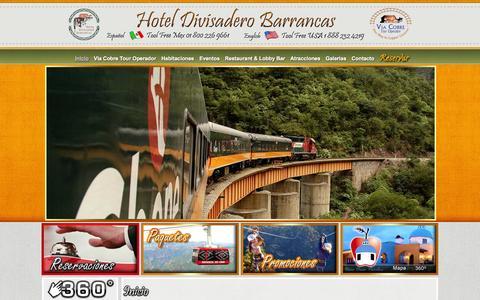 Screenshot of Home Page hoteldivisadero.com - .:. Hotel Divisadero Barrancas .:. - captured Oct. 3, 2014